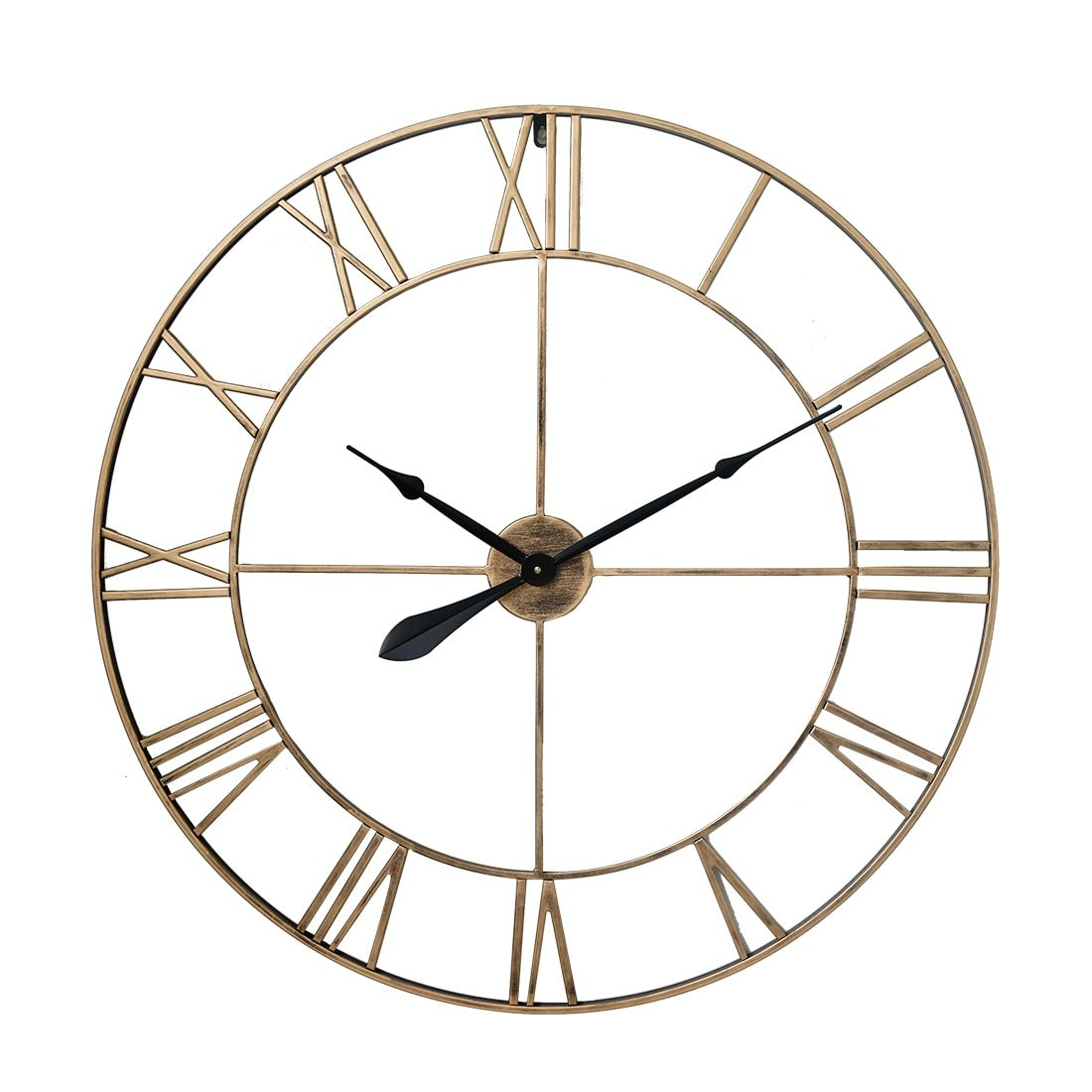 80cm 31 5 Inches Retro Wrought Iron Roman Numeral Wall Clock Silent Hanging Clock For Home Decor Wall Clock Silent Roman Numeral Wall Clock Hanging Clock