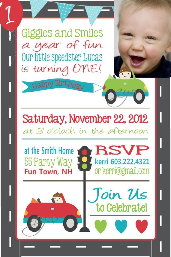 Cars Invitation Card Template Free: Birthday Party Invitation Cars First By