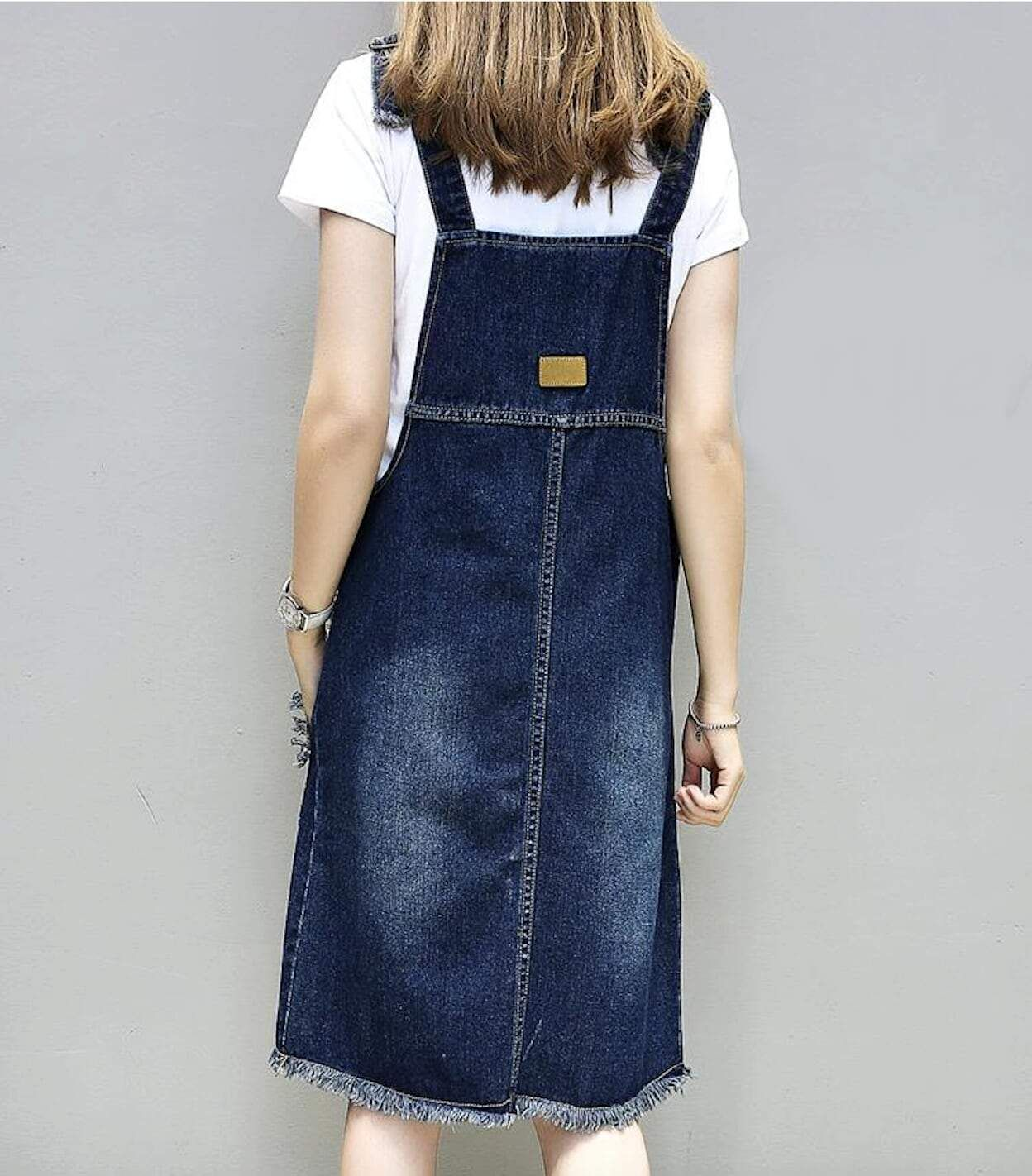 Womens Denim Pinafore Dress with Pockets Fabric: Cotton Blend Fit: Sim Fit Color Available: Blue Size: S, M, L S Chest : 39 inch - Length : 43 inch M Chest : 43 inch - Length : 48 inch L Chest : 47 inch - Length : 54 inch **Measured lying flat, please leave extra room for clothing. There may be slight differences in measurements.
