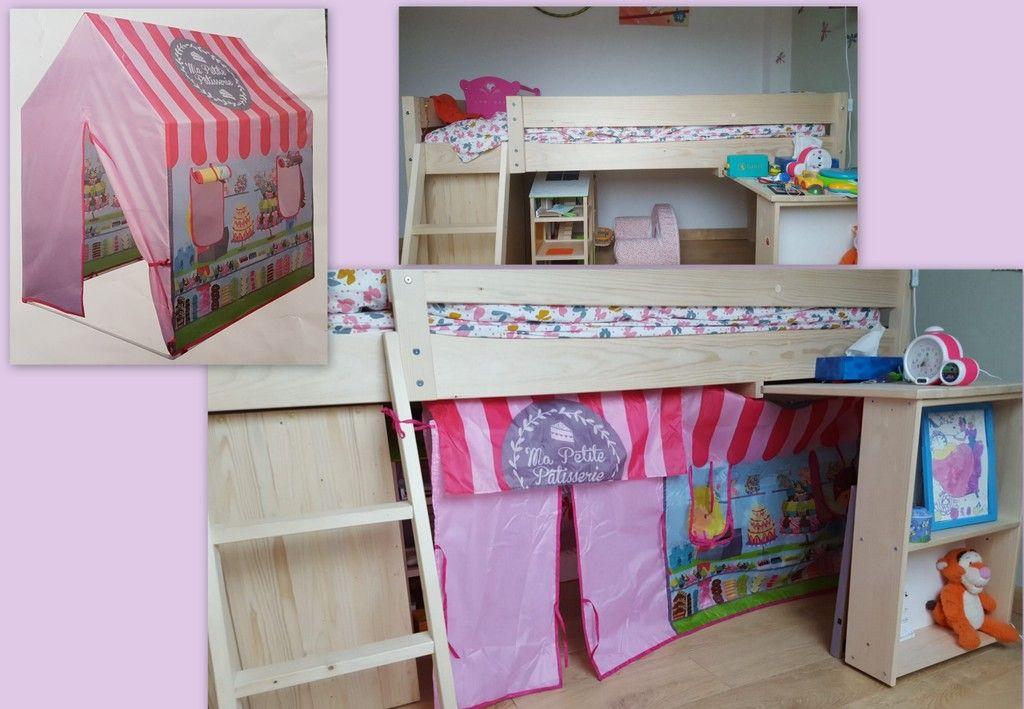 A Partir D Une Toile De Tente Little House Achetee Chez Gifi Decousue Et Recousue A Plat Voici Une Tente De Lit De Tente De Lit Toile De Tente Lit Mezzanine