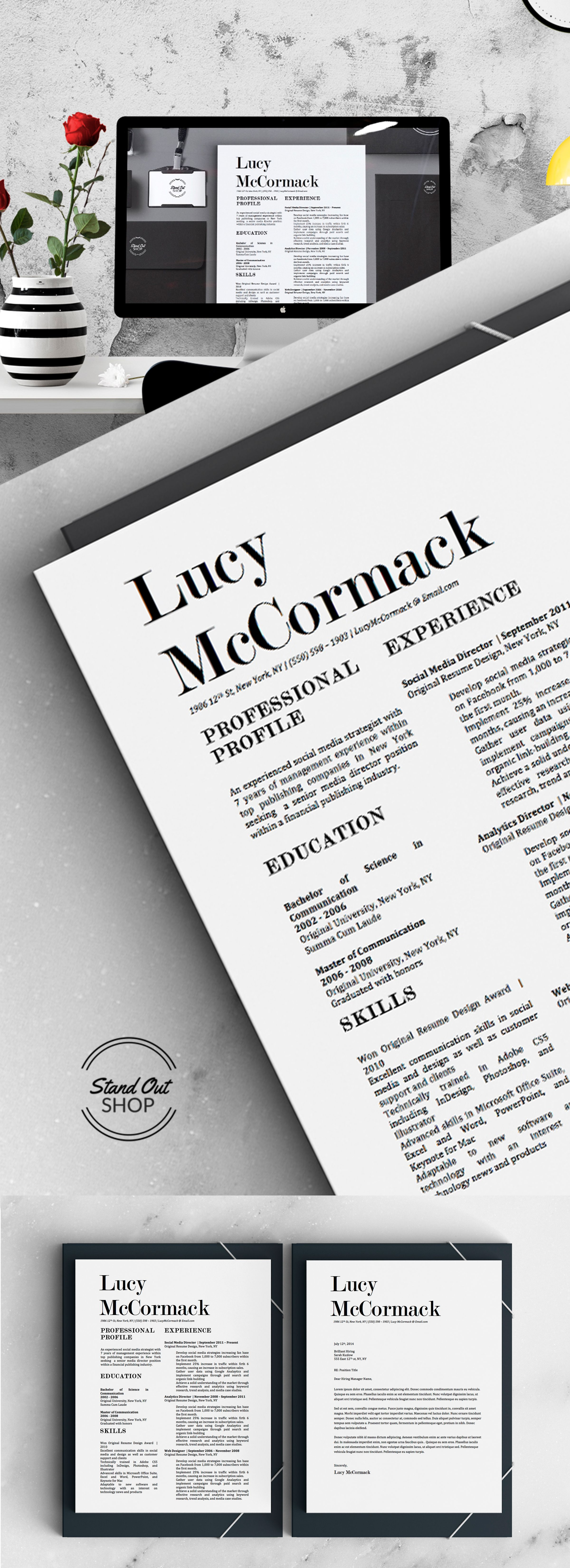 Modern Resume Design With Matching Cover Letter For