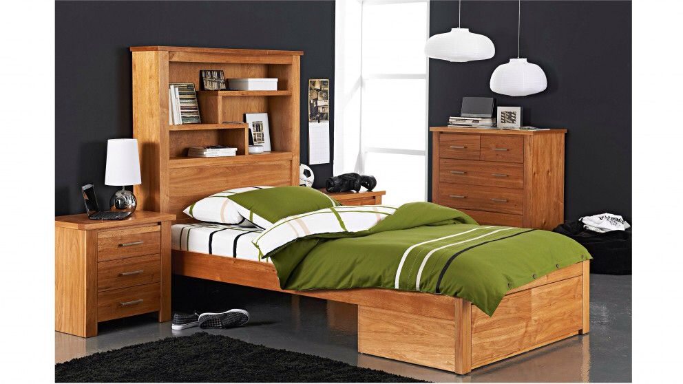 Cargo King Single Bed With Bookcase Bedhead Harvey Norman