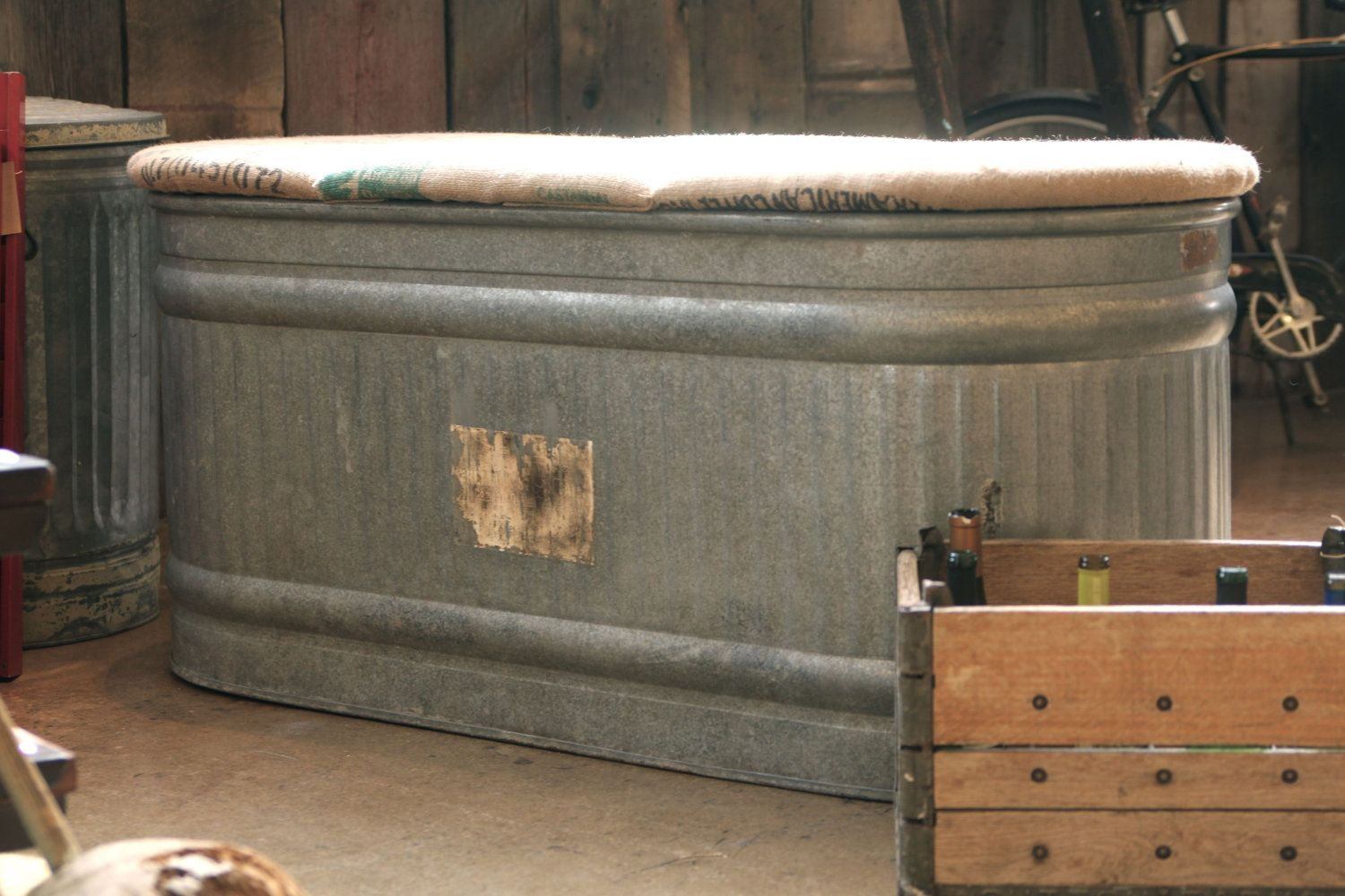 Western Bedroom Tank Toy Box Or: Galvanized Stock Tank Adapted To Bench-outside Storage