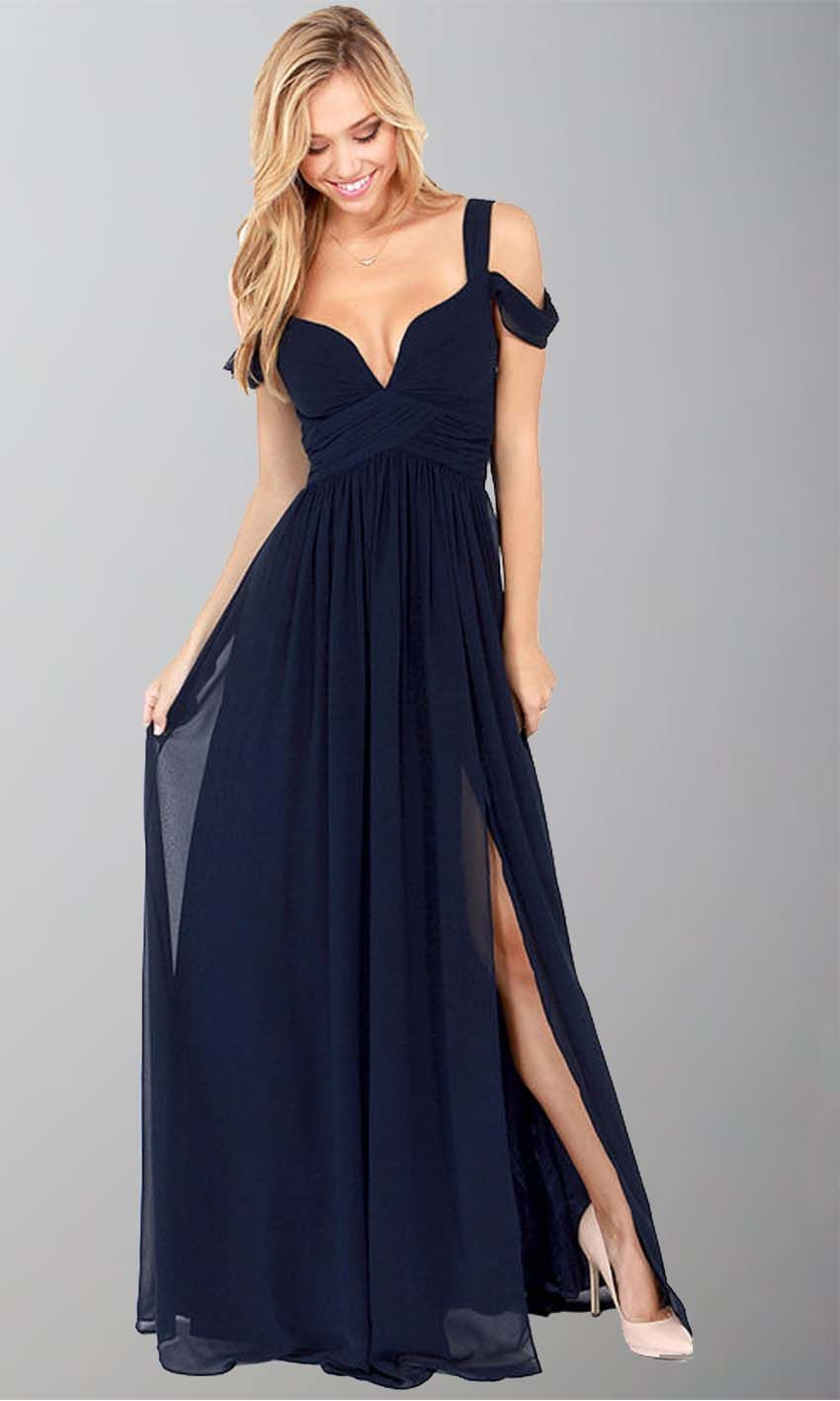 Dark blue off shoulder slit sexy maxi dresses ksp prom