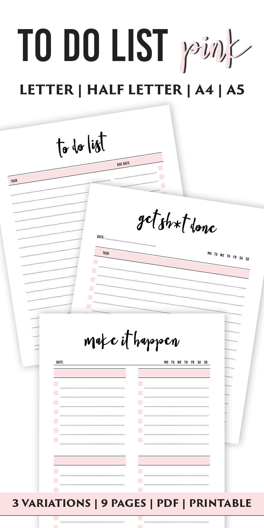 Printable Hand lettered To Do List Digital Calligraphy To Do List Daily To Do List pdf