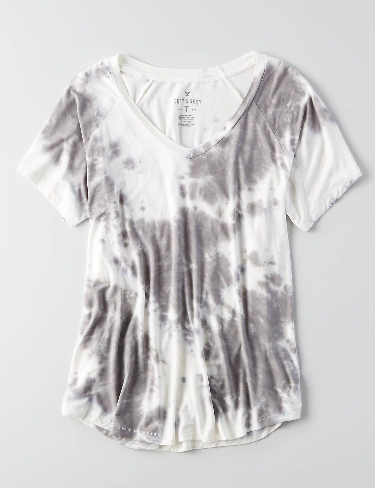 3b046d32 AEO Soft & Sexy V-Neck Favorite Tie-Dye T-Shirt , Burgundy | American Eagle  Outfitters