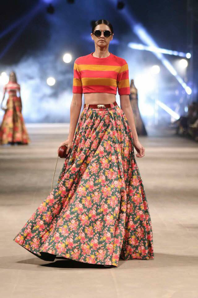 9eee271851 Sabyasachi striper crop top & floral lehenga, so perfect for a sangeet. Shop  for your wedding with a personal shopper & stylist in India - Bridelan, ...