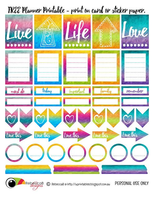 FREE Planner Printable - Personal Use Only. Print on sticker paper or cardstock. by RebeccaB Designs