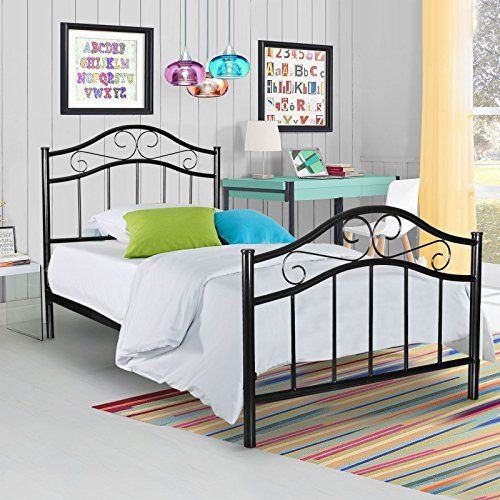 Kingpex Metal Platform Bed Frame Twin Size with Headboard Footboard ...