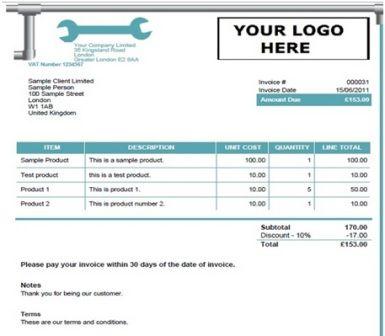 14 Free Plumbing Invoice Templates Demplates Invoice Template Invoice Template Word Receipt Template