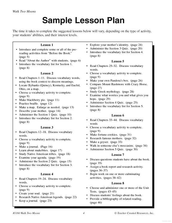 A Guide For Using Walk Two Moon In The Classroom Reading Lesson Plan Ela Plans Essay Discussion Question Theme