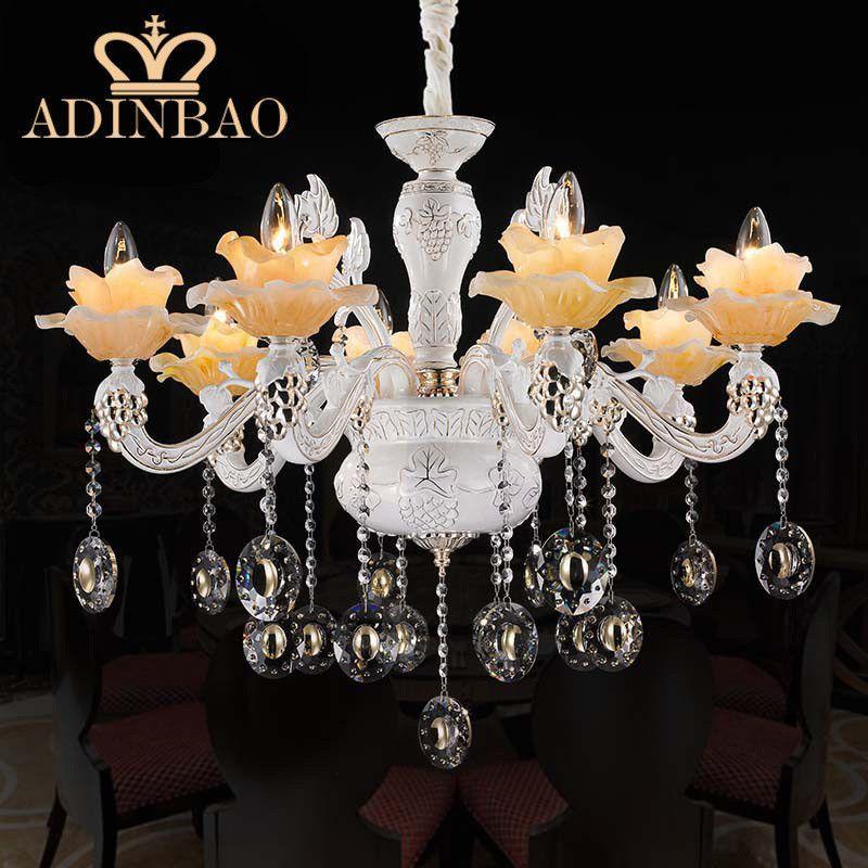 2015 Chandelier Crystal Lighting Lustre Top K9 Crystal Ceramics arm chandelier yellow color glaze Lampe Cristal Lustre 8522-8