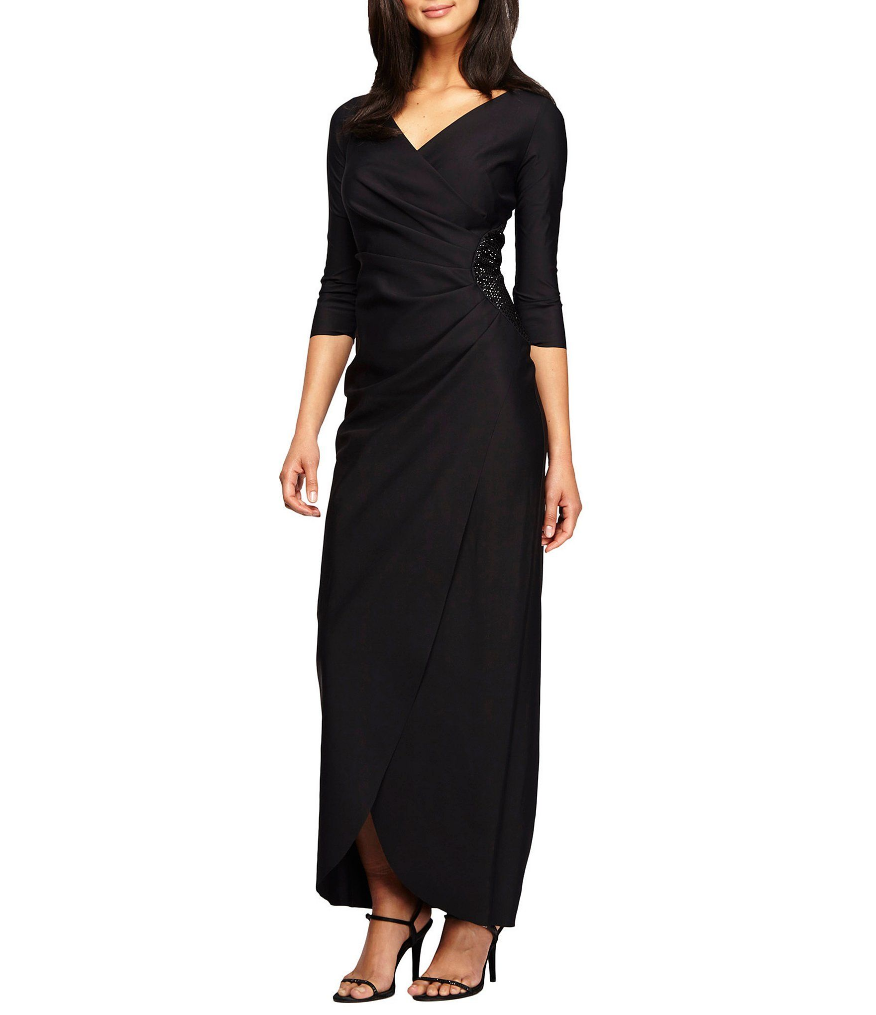 71063b1ea41 Alex Evenings Surplice VNeck Bead Trim Ruched Dress  Dillards ...