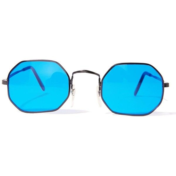 Psyborg Blue Tinted Sunglasses ($25) ❤ liked on Polyvore featuring ...