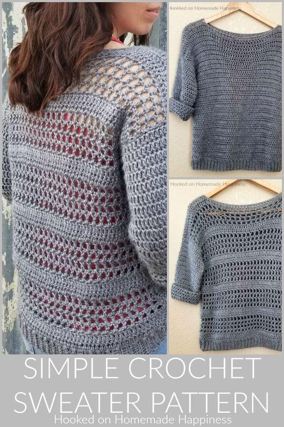 Simple Crochet Sweater Pattern Rg Pinterest Crochet Sweater