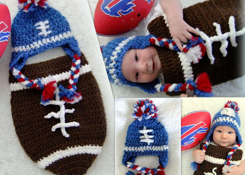Crochet Football Hat.   It\'s a boy   Pinterest   Cobija