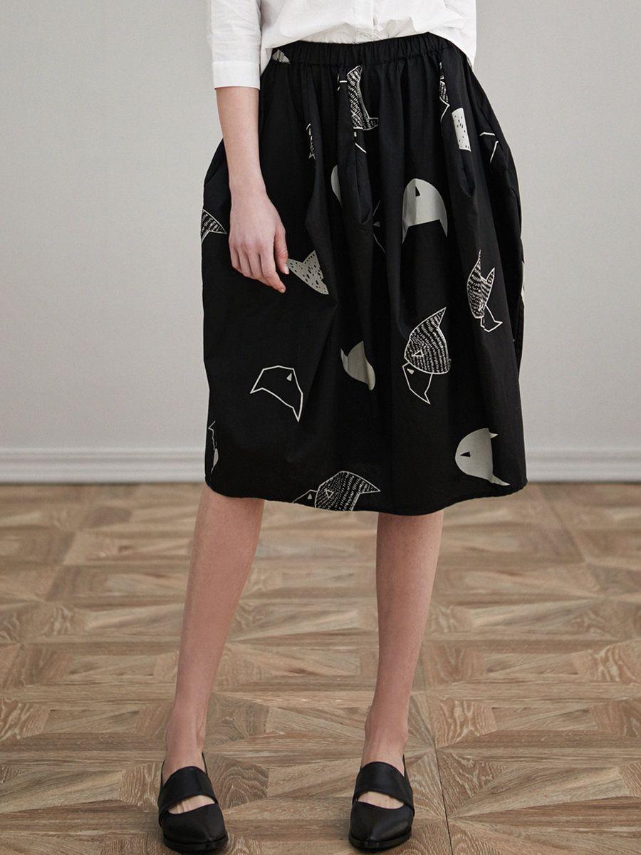 #AdoreWe #StyleWe Designer Midi Skirts - Designer MITING Black Printed Casual Cocoon Midi Skirt - AdoreWe.com