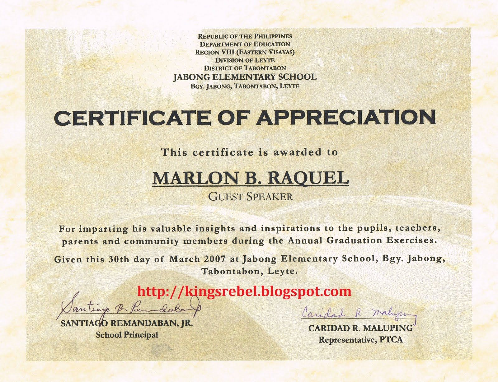 Example Of Certificate Of Appreciation, Guest Speaker, Graduation Exercises  Of Jabong Elemetary School  Certificate Sayings