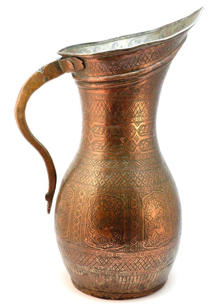 Vintage Islamic Arabian Ottoman Persian Large Bronze Brass Copper Jug Vase Sale