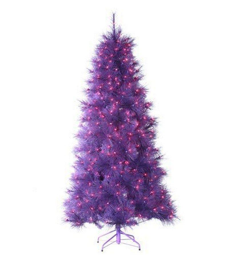 "7.5 Foot Pre-lit ""Feathered Winter Twilight"" Purple Christmas Tree with  Purple Lights - Purple Christmas Trees Purple Christmas Tree, Purple Christmas And"