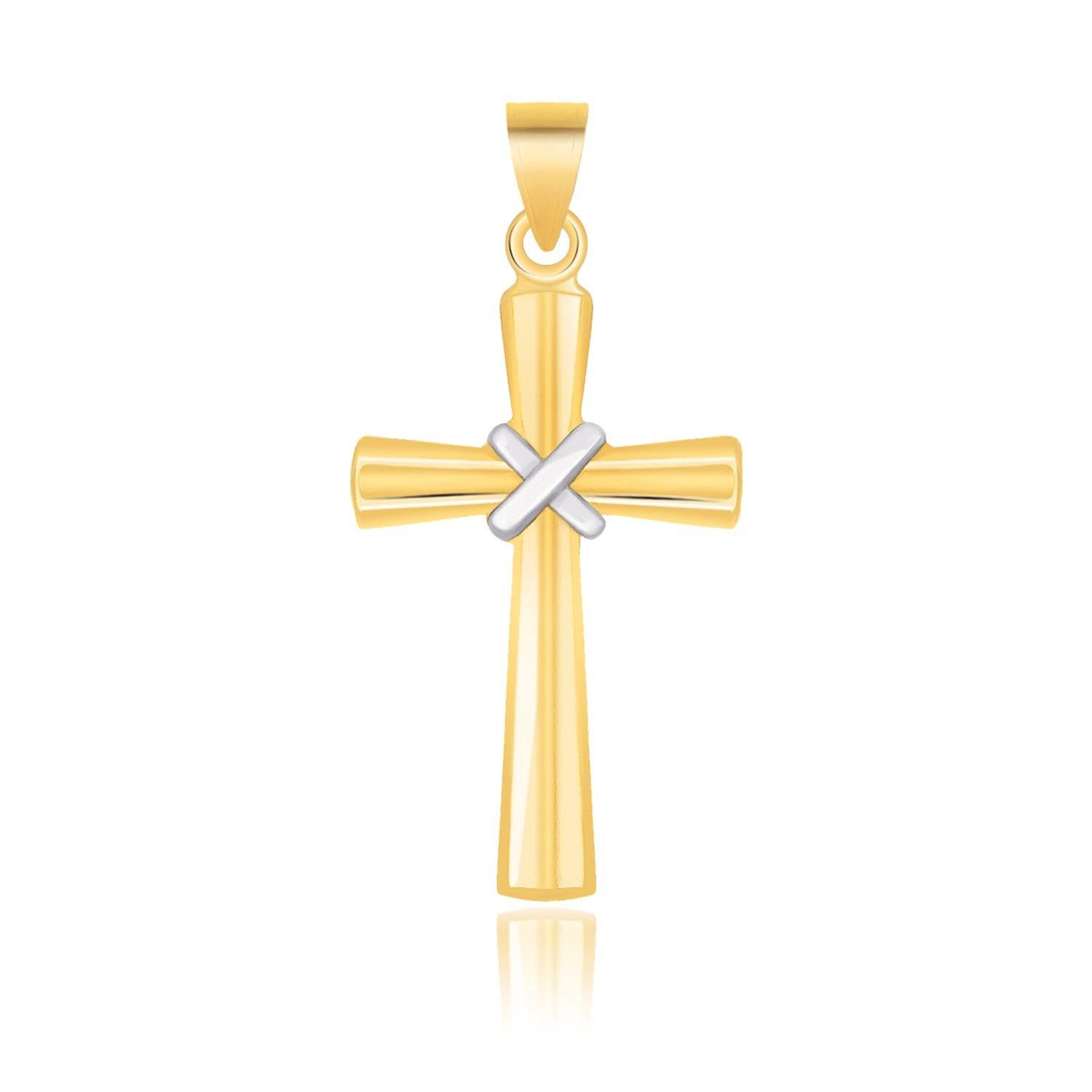 14K Two Tone Gold Cross Pendant with a Center X Design