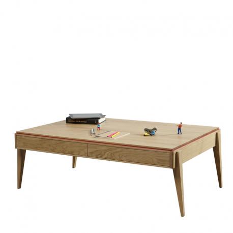Table basse 2 tiroirs LISERÉ dessinée par Julie Gaillard Personnalisable en essence de bois, teinte, couleur de liseré et dimensions.
