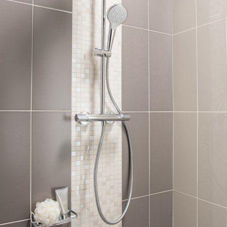 Fa ence mur brun taupe n 3 loft brillant x cm for Faience mur salle de bain