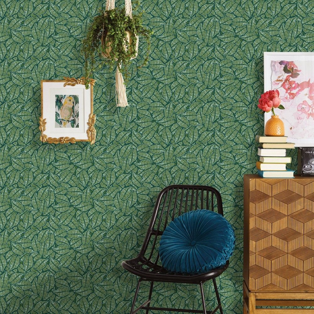 Layered Leaves Peel And Stick Wallpaper Green Opalhouse In 2021 Peel And Stick Wallpaper Accent Walls In Living Room Opalhouse
