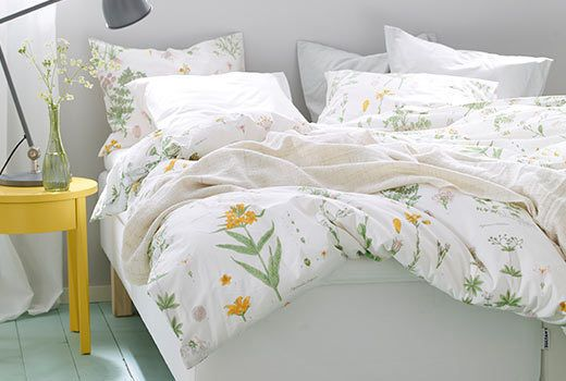 Ikea Strandkrypa Duvet Comforter Cover Set White Floral Twin Queen King New Fs Ikea Bed Black Bed Set Yellow Bedding