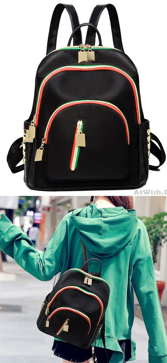 ca4f17a66 Unique Rivet Contrast Color Zippers Black Nylon College Backpack only $36.99