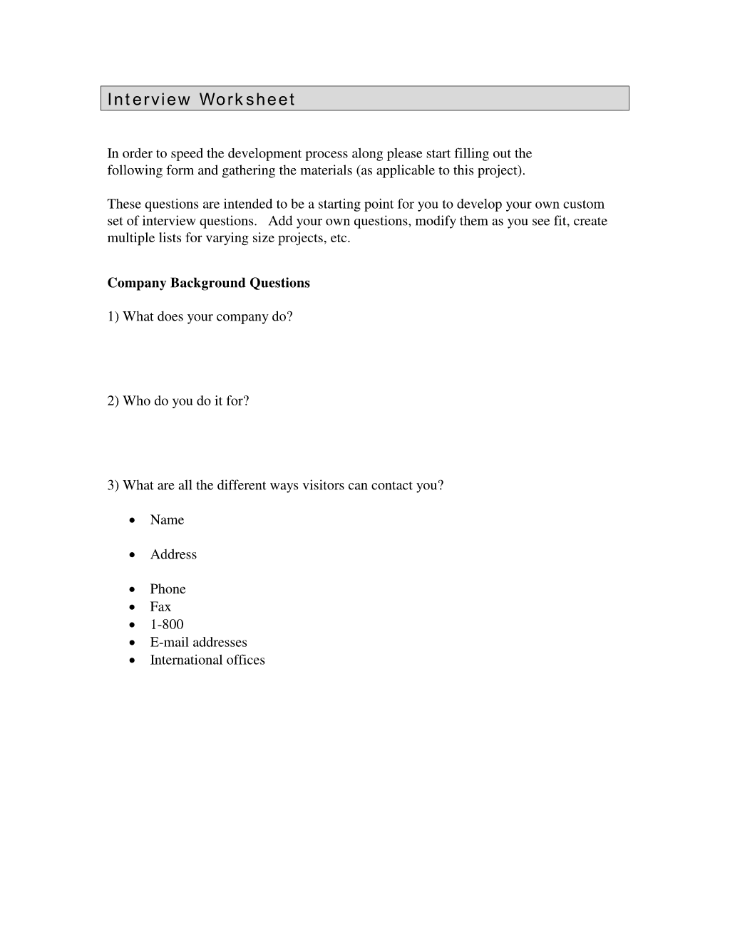 Interview Questionnaire Information Worksheet