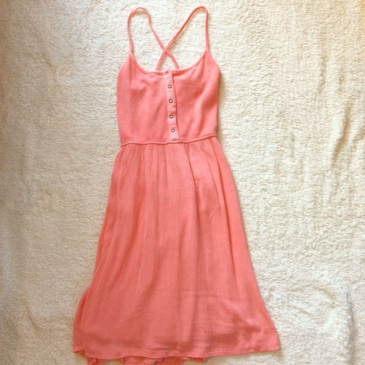 Coral Knee Length Dress With Cross Back From Target Depop Knee Length Dress Dresses Knee Length [ 1280 x 1280 Pixel ]