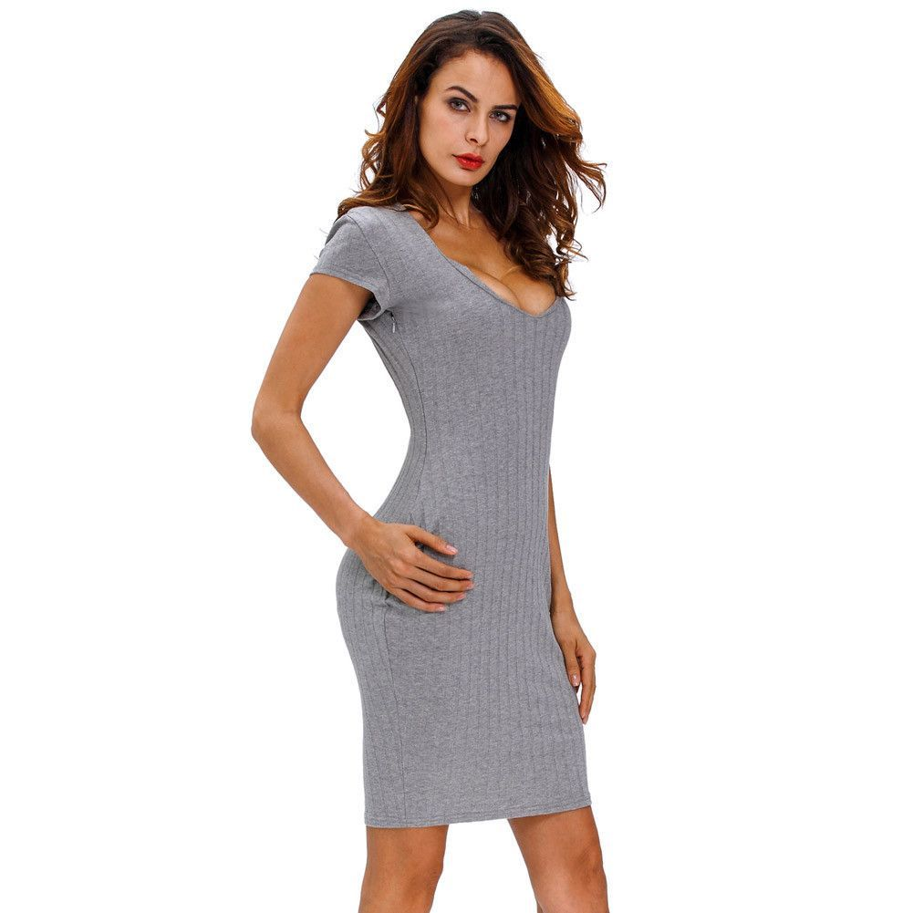 D gray plunge v neck ribbed bodycon dress products