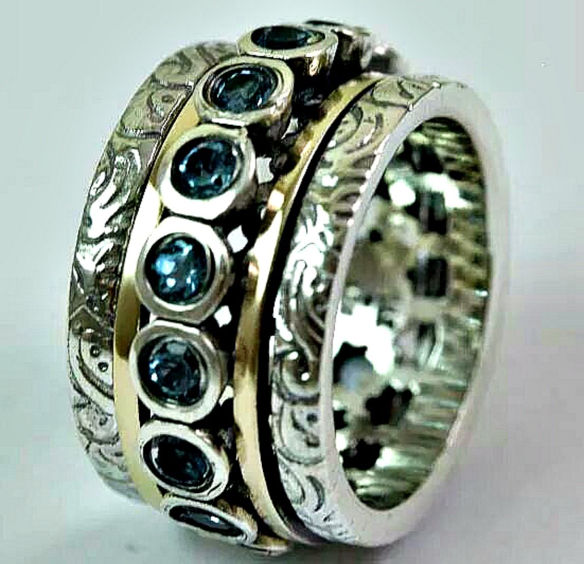 Peridot spinner ring for woman designer rings silver and gold Israel Jewelry