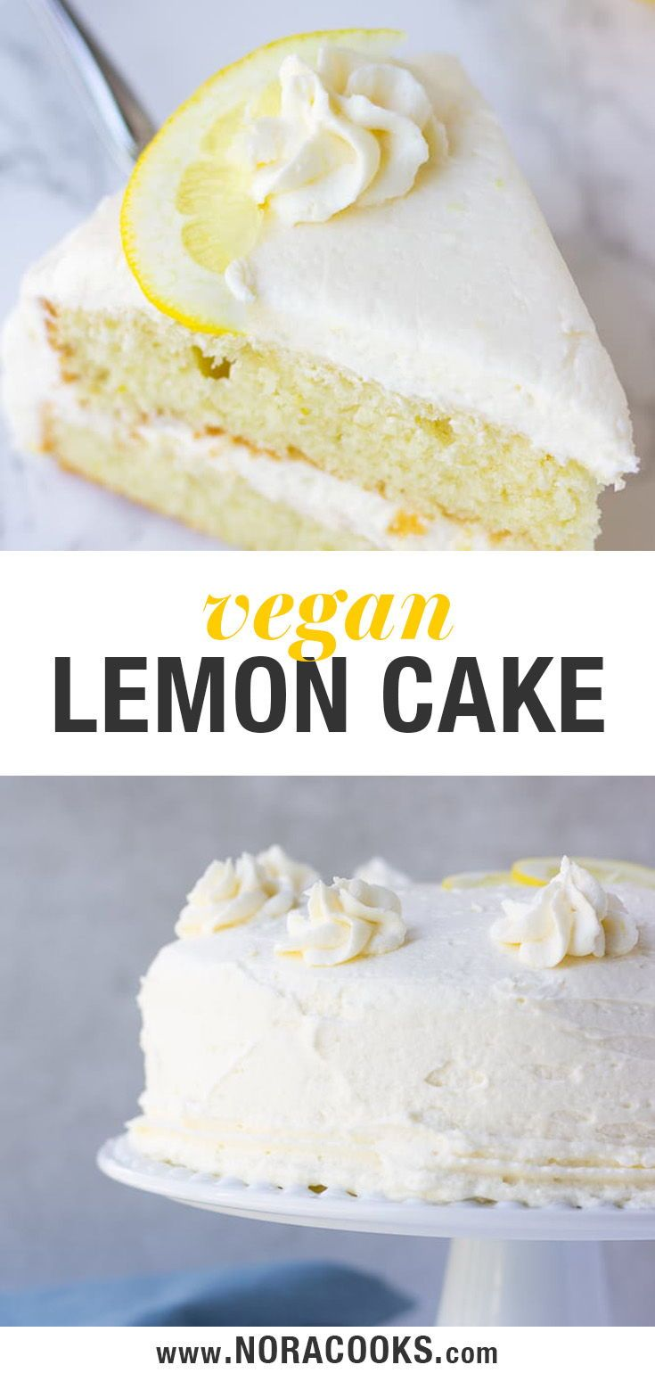 The best vegan lemon cake, easy to make with moist fluffy layers and a lemon buttercream frosting. #vegan #plantbased #dairyfree #dessert #lemonbuttercream