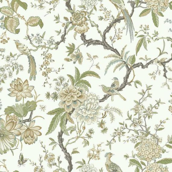 Ad1200 Green Tan Birds And Floral Asian Toile Wallpaper In 2020 Toile Wallpaper Wallpaper