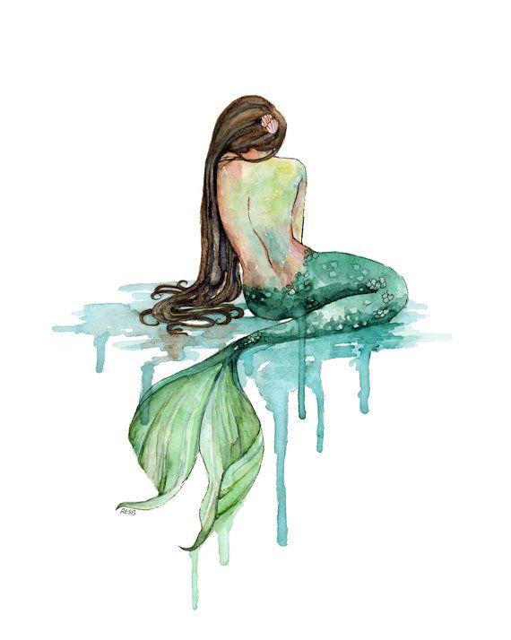 Peinture de sirène XLARGE - impression intitulée «la sirène», décor de plage, queue de sirène, impression de sirène, sirène Wall Art, aquarelle, plage