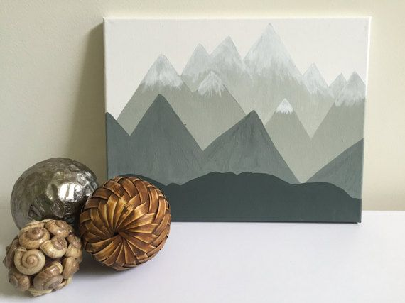 Minimalist Abstract Gray Ombre Mountain Painting Snowy