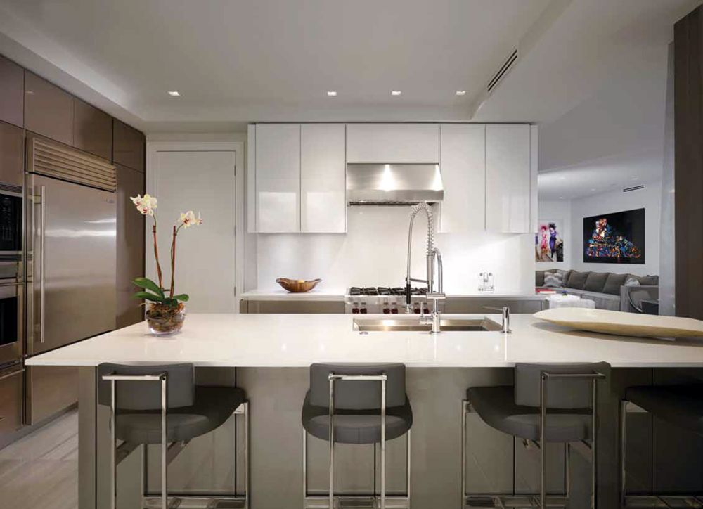 Beautifully Redesigned Snaidero WAY Kitchen Idea In Metalized Cement Gray  And Artic White HG Wall Units