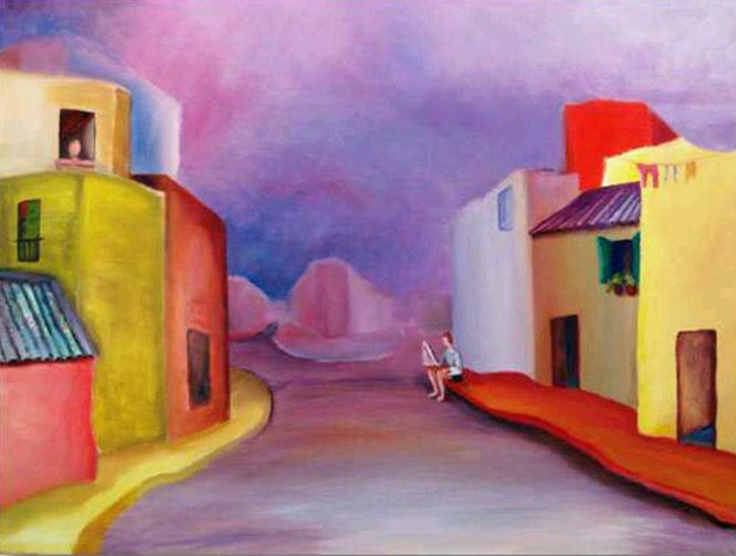 "Prudencio Hernandez -Paint Artist - Cityscapes-  ""Niño jugando con bote-""Oil on canvas-60 x 80 cm.-2009"