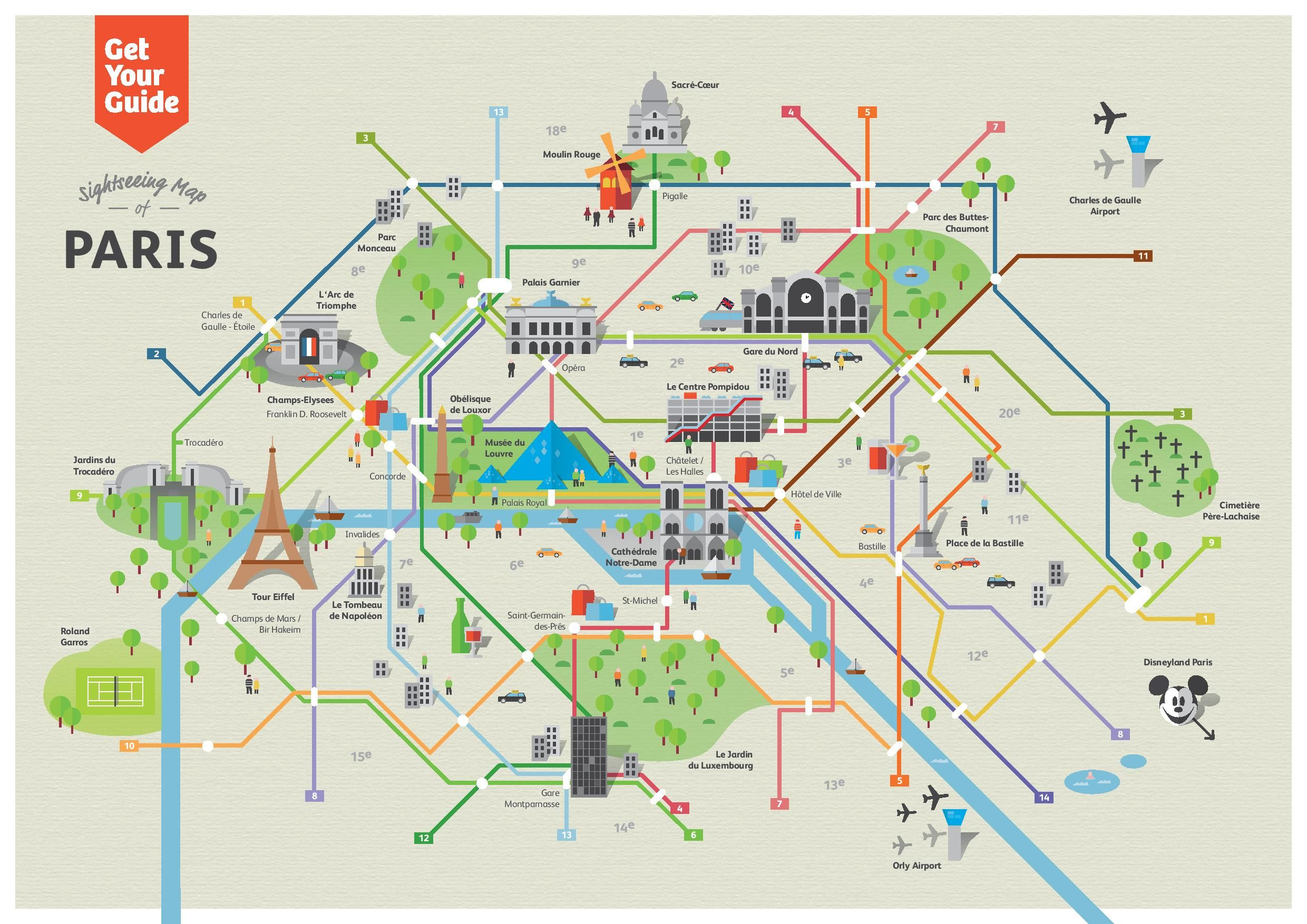 Subway Map Paris English.Sightseeing Map Of Paris Attractions In 2019 Paris Paris Map