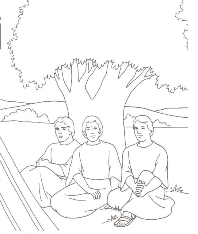 3 angels visit Abraham | Biblische Malvorlagen | Pinterest ...