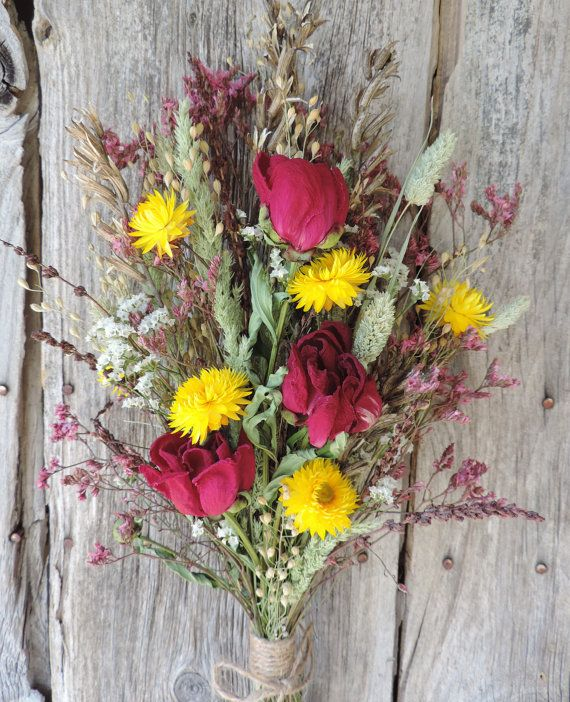 Dried Flower Bouquet Floral Arrangement Peonies Wildflowers Yellow ...