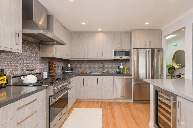 Light Gray Kitchen Cabinets Wooden Floor Ceiling Lamp Stove Faucet - Light grey kitchen cabinets with yellow walls