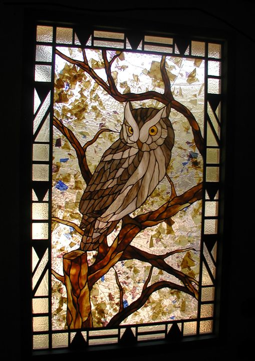 Stained Glass Owl Entry With Art Deco Border And Sidelites