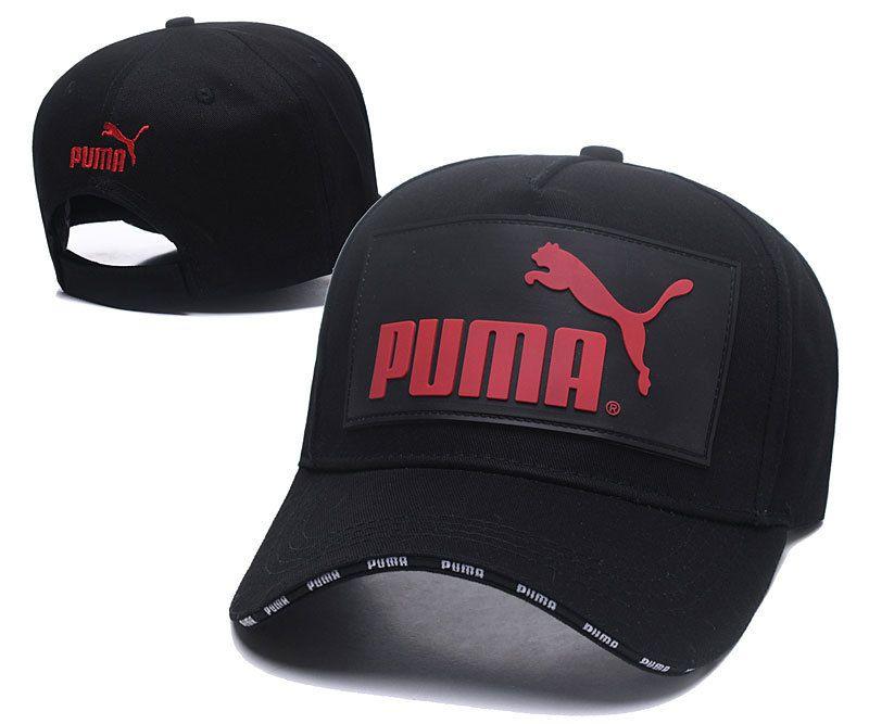 c14c8fbbf0f Men s   Women s Puma The Logo Rubber Patch Stitched Curved Dad Cap - Black    Red (Copy Ori)