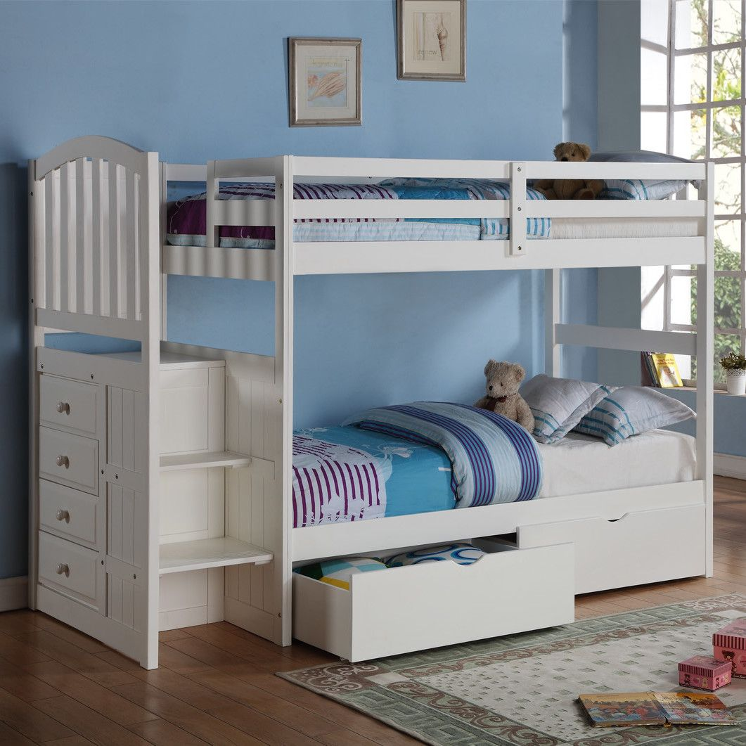 Twin loft bed with stairs and storage  Donco Kids Donco Kids Twin Standard Bunk Bed with Underbed Drawer