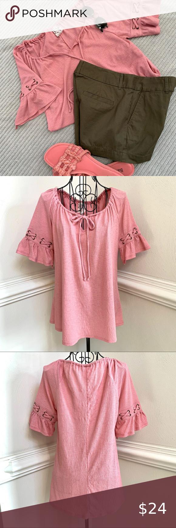 Naïf Drawstring Yoke Detailed Short Sleeve Shirt Dusty pink colored Naïf short sleeve top. Criss Cross laced detailing on sleeves. Drawstring tie yo…