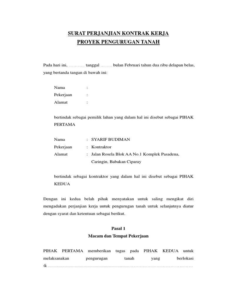 Saya Sedang Membaca Surat Perjanjian Kontrak Kerja Urugan Pemilik Lahan Di Scribd Surat Lahan Ciparay
