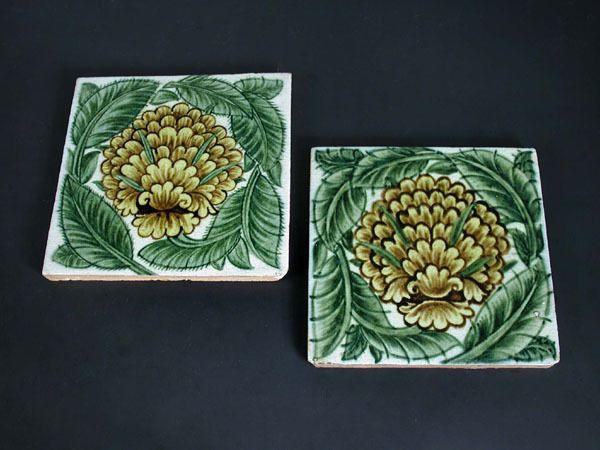 William De Morgan, Two Merton Abbey period 'Cavendish' tiles, impressed marks #tile